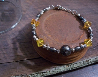 Yellow and Black Magnetic Hematite Bracelet