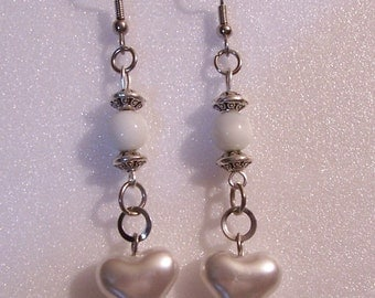 Silver and White Puffed Heart Earrings