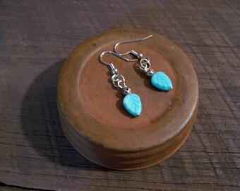 Turquoise Blue Leaf Earrings