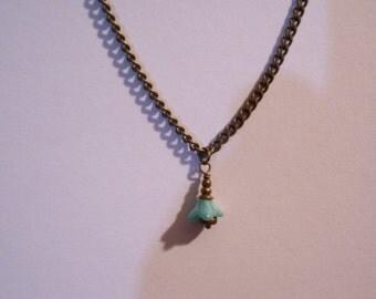 18 inch Brass Flower Pendant necklace