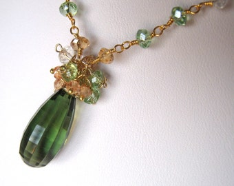 Large Green and Yellow Quartz Necklace