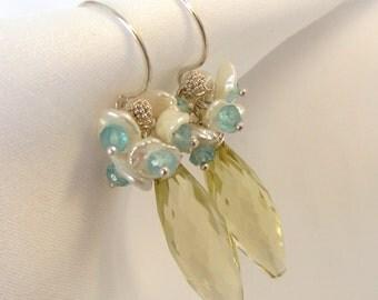 Lemon Quartz Dew Drop Earrings