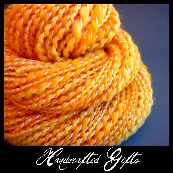 Sale - Mango - Soft Merino Handspun - Spiral, 2.3oz, 85yd