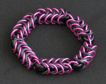 Pink and Black Box Chain Chainmail Bracelet