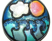 Polymer clay pendant - Crest of a Wave - Hand crafted
