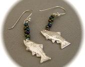 Bubbling Trout Earrings - Recycled Silver - Ear hoops or clip backs