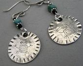 Owl Man Petroglyph Earrings - Recycled Silver