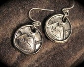Mountains, Buffalo, Rustic Mountain Wildlife Earrings with Buffalo - Recycled Silver - Eco-friendly