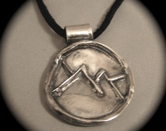 Rustic Mountain Wildlife Pendant in Recycled Silver on leather - Personalized