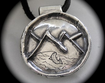 Rising Trout on Rustic Mountain Wildlife Pendant in Recycled Silver, Leather, May Be Personalized