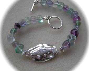 Glorious Trout Bracelet - Recycled Silver with Fluorite Nuggets