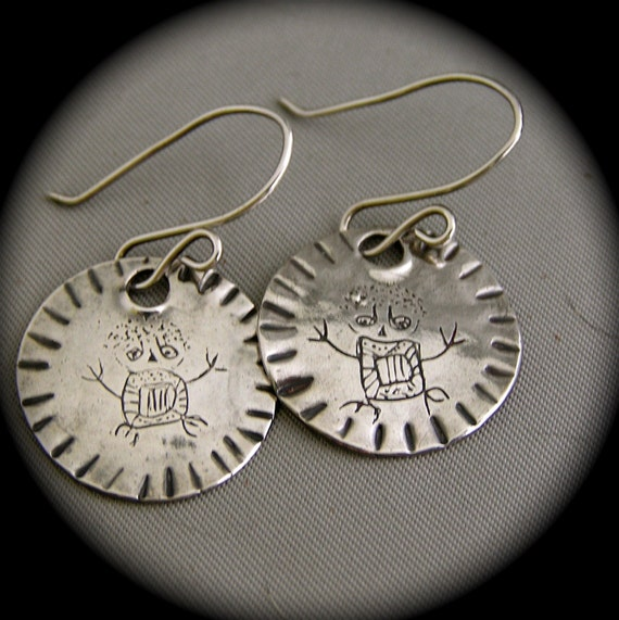 Recycled Silver Owl Man Petroglyph Earrings