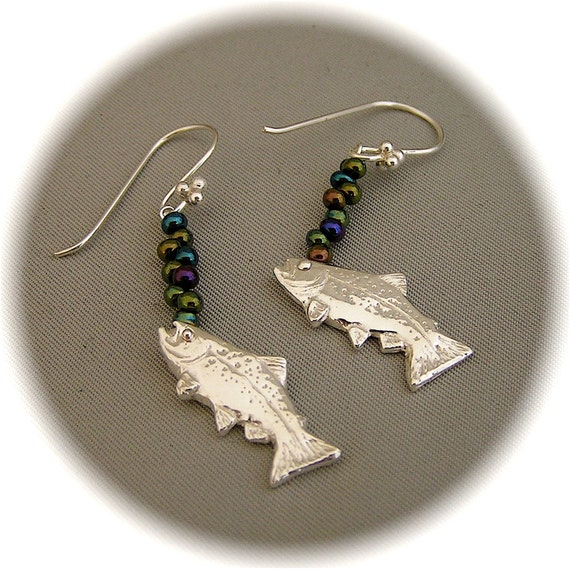 Bubbling Trout Earrings - Recycled Silver - Eco Friendly