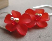 50% off clearance sale Cherry spark - sterling silver and red flower earrings