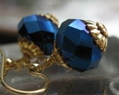 50% off clearance sale Stary Night - glittering blue and gold earrings