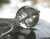 Intervals captured - Tourmalinated Quartz Crystal ball, sterling silver 18 inch necklace