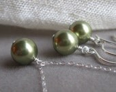 Bride in Pearls - necklace and earring set in light green, custom colors available