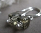 Holding you close - Green Quartz cube beads on sterling