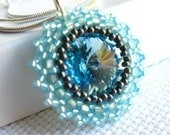 30% off baby sale - Ice blue and gray beadwoven Swarovski crystal pendant necklace