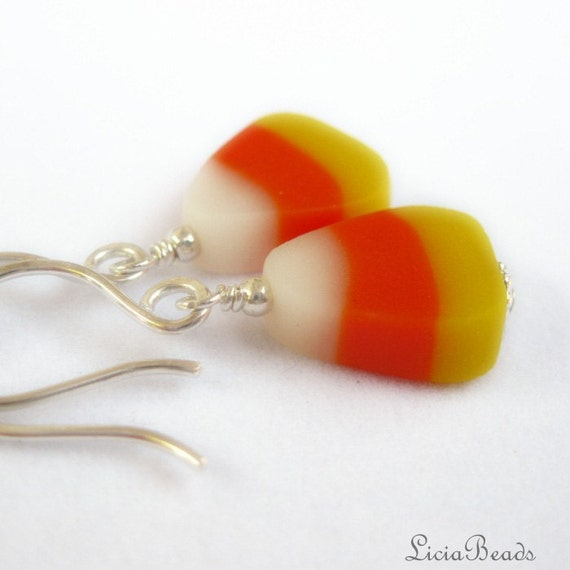 RESERVED  ..........Candy Corn Halloween - holiday novelty dangle earrings, limited