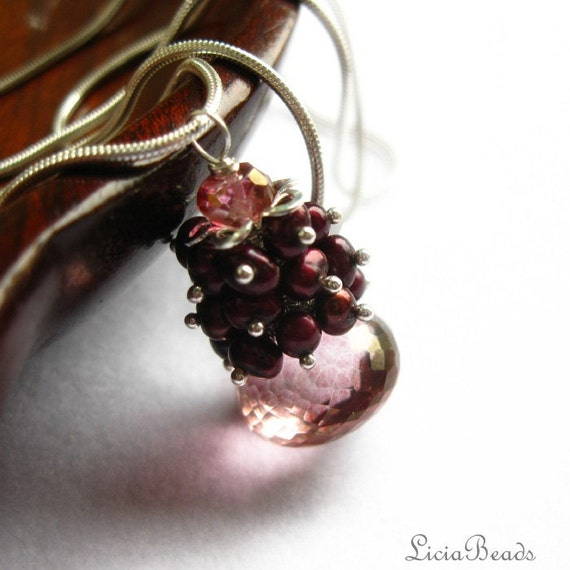 50% off sale  Raspberry Briolette, Pink Quartz and freshwater pearl cluster necklace