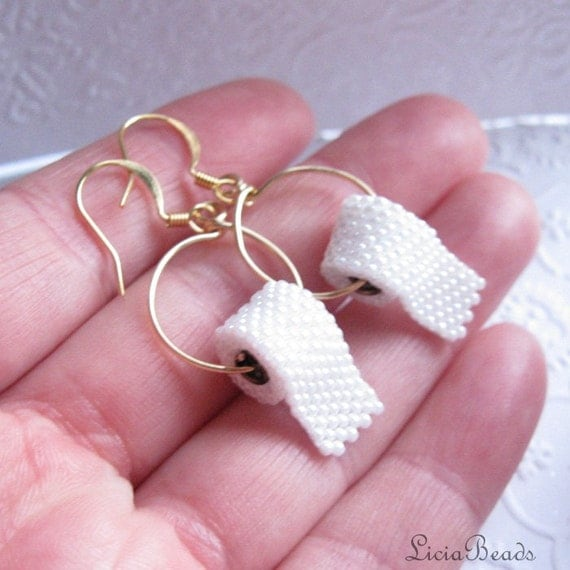 Toilet Paper earrings, sterling silver or gold hook earrings, allow up to 2 weeks before shipping