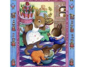 Kids Art Poster Print Bunny Baker Mother Goose
