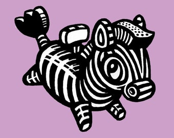 Art Print Zebra Childrens Kids Nursery Digital Modern  colorful