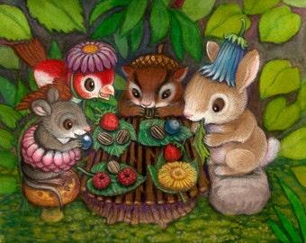 Nursery art prints, baby nursery decor, nursery wall art, children print, baby art,forest animals