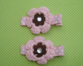 Pink and Brown Crochet Flower Hair Clips