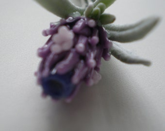Baby Blooming Lavender Glass Bead in Mauve, Pink and Sage with French Lavender Sachet Buds