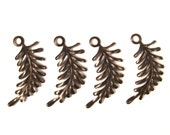 Vintaj Natural Brass Fern Curving Right Fastenable - 4 Pieces