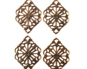 Vintaj Natural Brass 21x15mm Diamond Filigree - 4 Pieces
