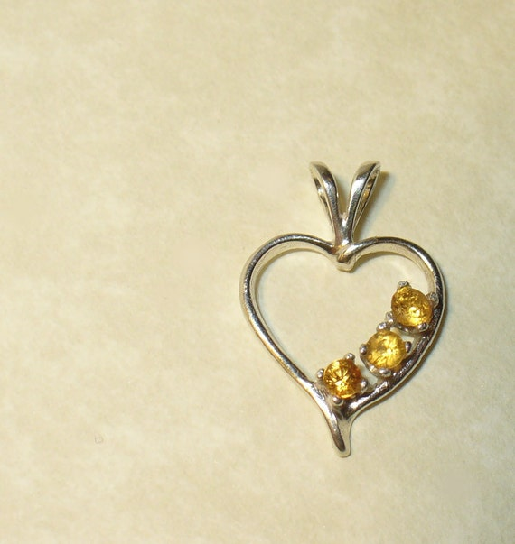 Yellow Sapphire Heart Pendant - Natural Gemstones in Solid Sterling Silver