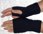 Black Wool Fingerless gloves wrist warmers 18cm 7 inches SALE