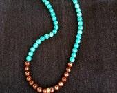 Moon Dance - Handmade Gemstone Necklace. Aqua. Blue. Brown. Stone. Moonstone. Pendant. Healing. Arizona. Easy Toggle Clasp.