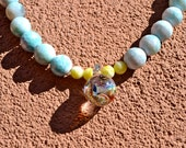 Blue Sky and Fireworks - Handmade Gemstone Necklace. Baby Blue. White. Yellow. Dichroic Glass. Multicolor. Sparkle. Swirl. NYC. Spring Ring.