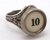 Number 10 Antique Typewriter Oak Leaf Ring - Fully Adjustable