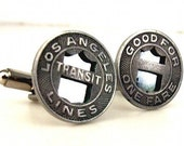It's Where You're From - Set of 5 Transit Token Wedding Cufflinks for Groomsmen