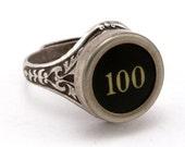 Number 100 Antique Typewriter Oak Leaf Ring - Fully Adjustable