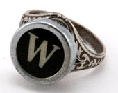 Letter W Antique Typewriter Oak Leaf Ring - Fully Adjustable