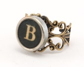 Ghostly Upcycled Typewriter Key Ring - Initial B
