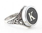 Letter K Antique Typewriter Oak Leaf Ring - Fully Adjustable