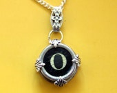 Antique Initial Letter O Typewriter Key Pendant - Cracked and Ghostly ((( One of a Kind )))