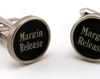 Typewriter Key Jewelry - Black Margin Release Keys Cufflinks - Jewelry Box