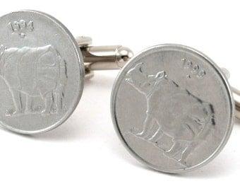 Rhino Coin Cufflinks - India 25 Paise