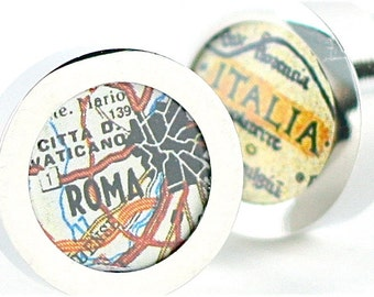 Rome Italy Vintage Map Chrome Cufflinks with Gift Box