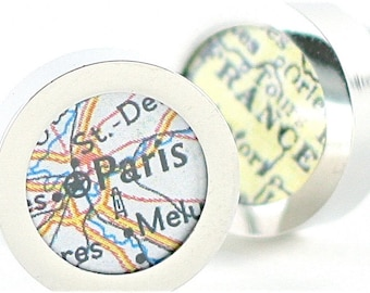 Paris France Vintage Map Chrome Cufflinks with Gift Box