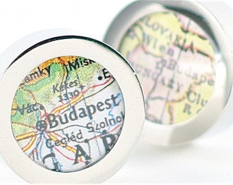 Map Jewelry - Budapest Hungary Vintage Map Chrome Cufflinks with Gift Box