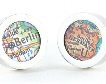 Berlin Germany Vintage Map Chrome Cufflinks with Gift Box